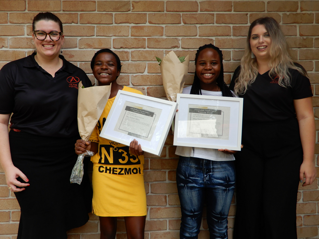 Scholarship winners Esther and Sarive with their tutors Alexandra MacHunter and Katie Jensen